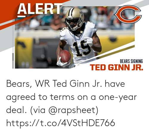 Bears: Bears, WR Ted Ginn Jr. have agreed to terms on a one-year deal. (via @rapsheet) https://t.co/4VStHDE766