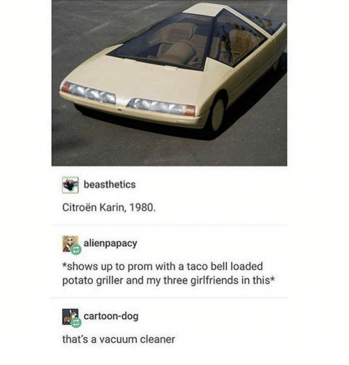 Ironic, Taco Bell, and Potato: beasthetics  Citroen Karin, 1980.  alien papacy  *shows up to prom with a taco bell loaded  potato griller and my three girlfriends in this*  cartoon-dog  that's a vacuum cleaner