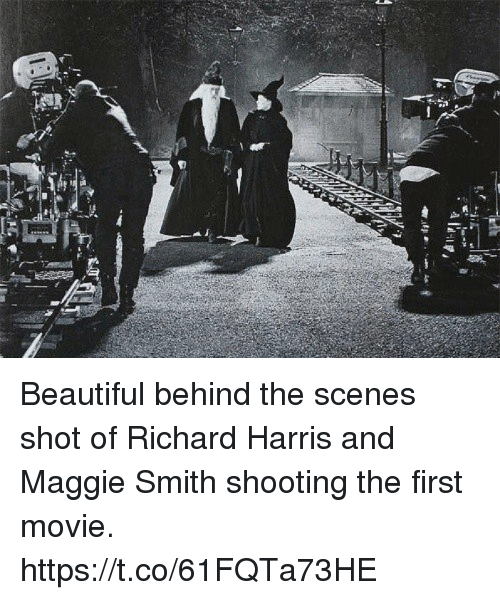 richards: Beautiful behind the scenes shot of Richard Harris and Maggie Smith shooting the first movie. https://t.co/61FQTa73HE
