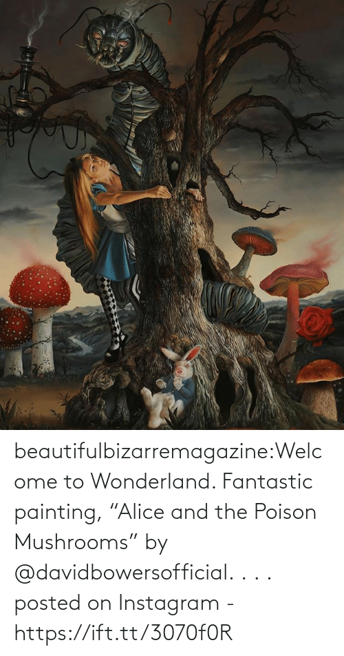 """poison: beautifulbizarremagazine:Welcome to Wonderland. Fantastic painting, """"Alice and the Poison Mushrooms"""" by @davidbowersofficial. . . .         posted on Instagram - https://ift.tt/3070f0R"""