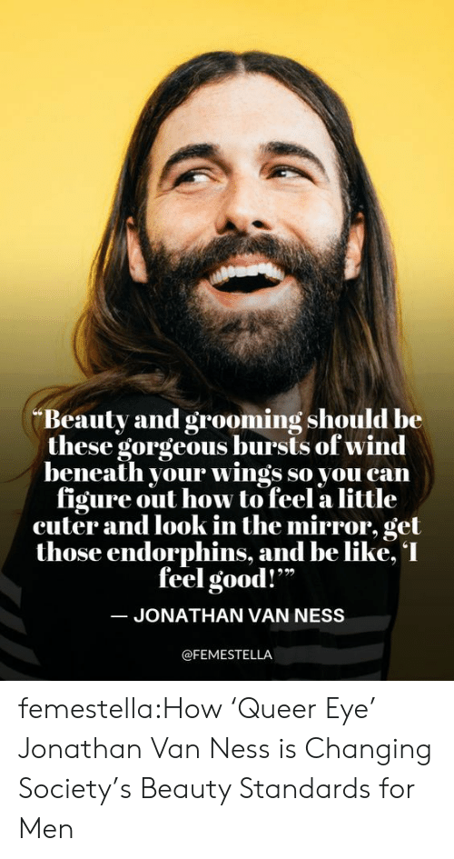 "ness: Beauty and grooming should be  these gorgeous bursts of wind  beneath your wings so you can  figure out how to feel a little  cuter and look in the mirror, get  those endorphins, and be like, I  feel good!""  JONATHAN VAN NESS  @FEMESTELLA femestella:How 'Queer Eye' Jonathan Van Ness is Changing Society's Beauty Standards for Men"