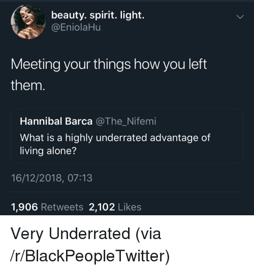 Hannibal: beauty. spirit. light.  @EniolaHu  Meeting your things how you left  them  Hannibal Barca @The_Nifemi  What is a highly underrated advantage of  living alone?  16/12/2018, 07:13  1,906 Retweets 2,102 Likes Very Underrated (via /r/BlackPeopleTwitter)
