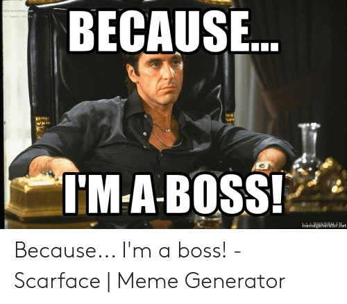 Scarface Meme: BECAUSE  on  notrecinena  ts  (c) Ayants dro  I'M-A-BOSS!  memegenerator.het Because... I'm a boss! - Scarface | Meme Generator