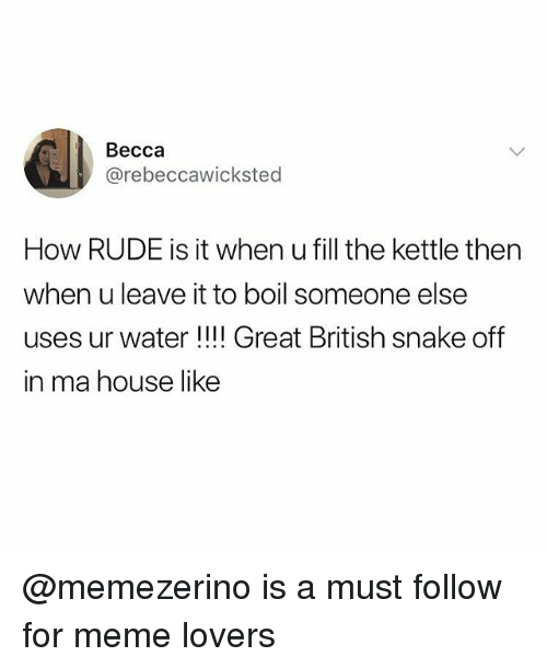 Meme, Memes, and Rude: Becca  @rebeccawicksted  How RUDE is it when u fill the kettle then  when u leave it to boil someone else  uses ur water !!!! Great British snake off  in ma house like @memezerino is a must follow for meme lovers