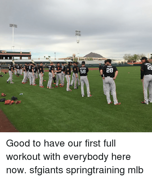 Memes, Mlb, and Good: BECKHAM  58  POSEY  28 Good to have our first full workout with everybody here now. sfgiants springtraining mlb