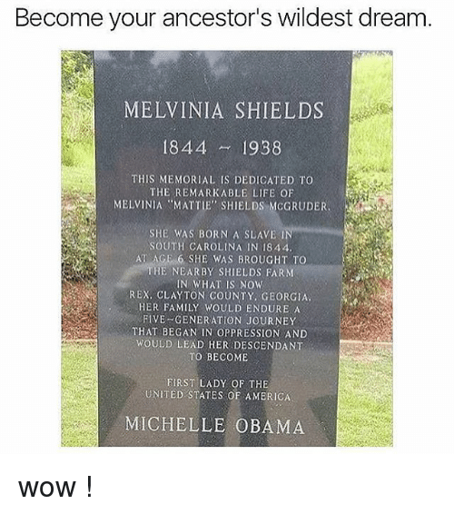 """Family, Journey, and Life: Become your ancestor's wildest dream  MELVINIA SHIELDS  1844 1938  THIS MEMORIAL IS DEDICATED TO  THE REMARKABLE LIFE OF  MELVINIA MATTIE"""" SHIELDS MCGRUDER  SHE WAS BORN A SLAVE  SOUTH CAROLINA IN 1844  ATAGE。6.SHE WAS BROUGHT TO  HE NEARBY SHIELDS FARNM  IN WHAT IS NOW  REX, CLAYTON COUNTY, GEORGIA.  HER FAMILY WOULD ENDURE A  FIVE GENERATION JOURNEY  THAT BEGAN IN OPPRESSION AND  WOULD LEAD HER DESCENDANT  TO BECOME  FIRST LADY OF THE  UNITED STATES OF AMBRICA  MICHELLE OBAMA wow !"""