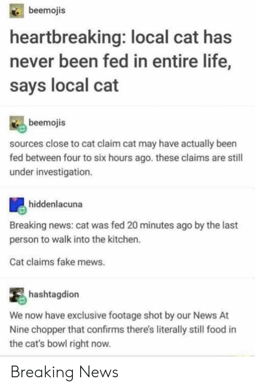 chopper: beemojis  heartbreaking: local cat has  never been fed in entire life,  says local cat  beemojis  sources close to cat claim cat may have actually been  fed between four to six hours ago. these claims are still  under investigation.  hiddenlacuna  Breaking news: cat was fed 20 minutes ago by the last  person to walk into the kitchen.  Cat claims fake mews.  hashtagdion  We now have exclusive footage shot by our News  Nine chopper that confirms there's literally still food  the cat's bowl right now. Breaking News