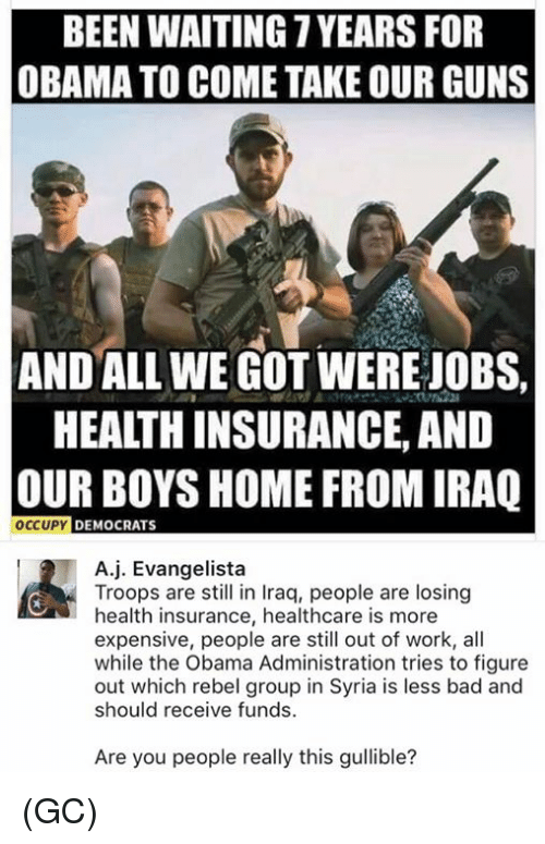 memes: BEEN WAITING YEARS FOR  OBAMA TO COME TAKE OUR GUNS  AND ALL WE GOT WERE JOBS,  HEAITHINSURANCE, AND  OUR BOYS HOME FROM IRAQ  OCCUPY DEMOCRATS  A j. Evangelista  Troops are still in Iraq, people are losing  health insurance, healthcare is more  expensive, people are still out of work, all  while the Obama Administration tries to figure  out which rebel group in Syria is less bad and  should receive funds  Are you people really this gullible? (GC)