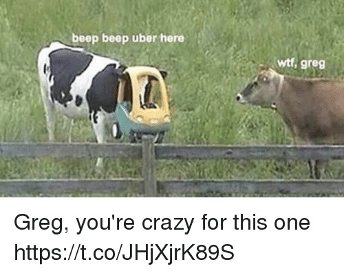 youre crazy: beep beep uber here  wtf, greg Greg, you're crazy for this one https://t.co/JHjXjrK89S