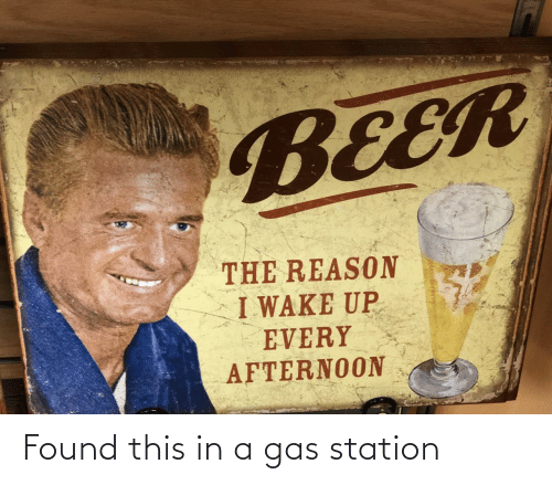wake up: BEER  THE REASON  I WAKE UP  EVERY  AFTERNOON Found this in a gas station