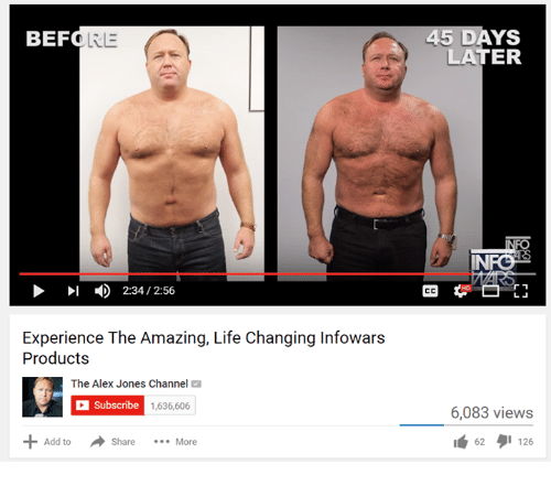 Life, Alex Jones, and Amaz: BEF  LRE  I 2:34 2:56  Experience The Amazing, Life Changing Infowars  Products  The Alex Jones Channel  C Subscribe  1,636,606  Add to  Share  More  45 DAYS  LATER  INFO  6,083 views  62  126