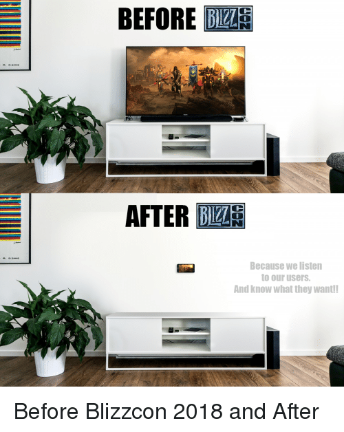 Blizzcon: BEFORE  AFTER BA  Because we listen  to our users.  And know what they want Before Blizzcon 2018 and After