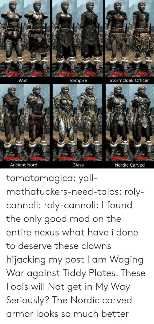 Nord: Before After  Before After  Before After  Stormcloak Officer  Wolf  Vampire   Before After  Glass  Before After  Before After  Ancient Nord  Nordic Carved tomatomagica:  yall-mothafuckers-need-talos:  roly-cannoli:   roly-cannoli:    I found the only good mod on the entire nexus  what have i done to deserve these clowns hijacking my post I am Waging War against Tiddy Plates. These Fools will Not get in My Way    Seriously? The Nordic carved armor looks so much better