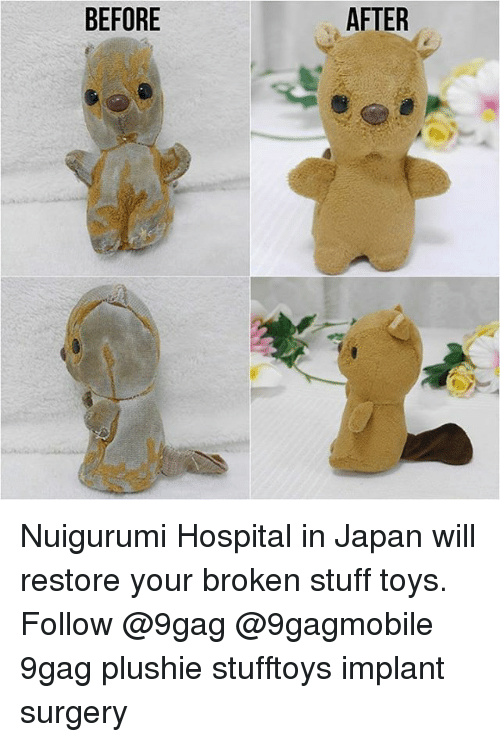 Plushy: BEFORE  AFTER Nuigurumi Hospital in Japan will restore your broken stuff toys. Follow @9gag @9gagmobile 9gag plushie stufftoys implant surgery