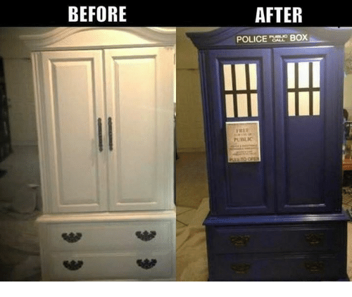 police box: BEFORE  AFTER  POLICE BOX