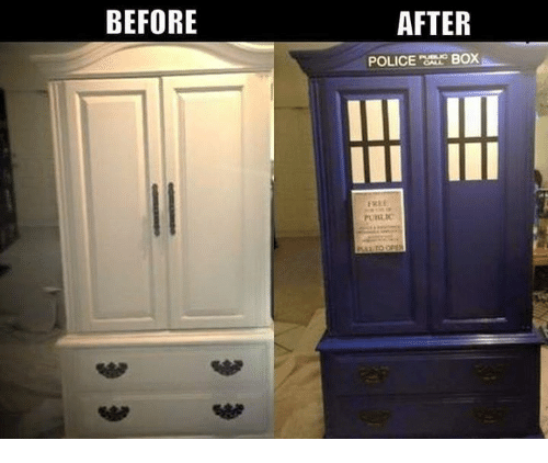 police box: BEFORE  AFTER  POLICE  BOX  FRI