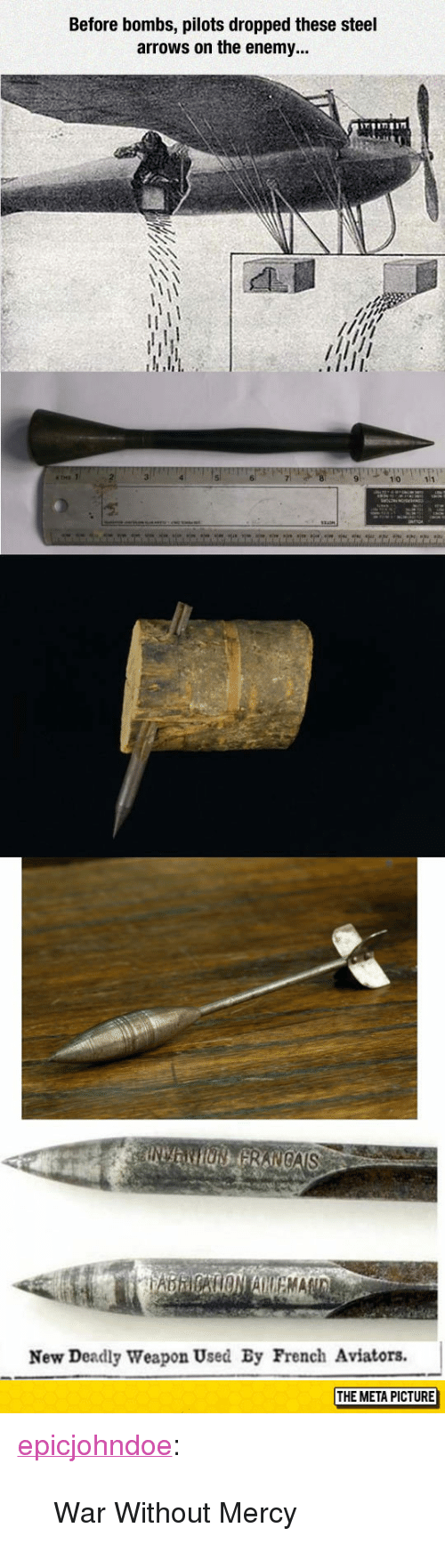 """Aviators: Before bombs, pilots dropped these steel  arrows on the enemy...  New Deadly Weapon Used By French Aviators.  THE META PICTURE <p><a href=""""https://epicjohndoe.tumblr.com/post/172738344069/war-without-mercy"""" class=""""tumblr_blog"""">epicjohndoe</a>:</p>  <blockquote><p>War Without Mercy</p></blockquote>"""