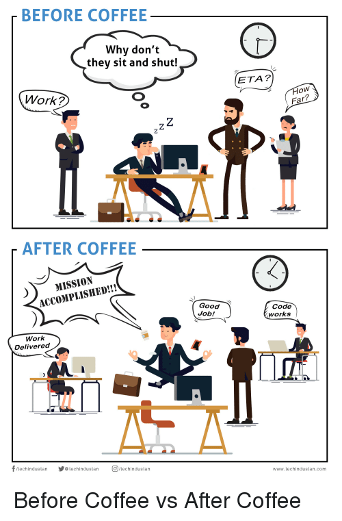 Funny, Work, and Coffee: BEFORE COFFEE  Why don't  they sit and shut!  ETA?  Work?  How  Far?  AFTER COFFEE  MISSION  ACCOMPLISHED!!!  Good  Job!  Code  works  Work  Delivered  CT  /techindustan techindustan techindustan Before Coffee vs After Coffee