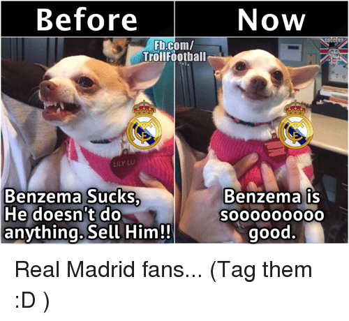 lily lu: Before  Fb.com/  Troll Football  LILY LU  Benzema Sucks  He doesnt do  anything. Sell Him!!  Now  OCCER2  Benzema is  good Real Madrid fans...  (Tag them :D )