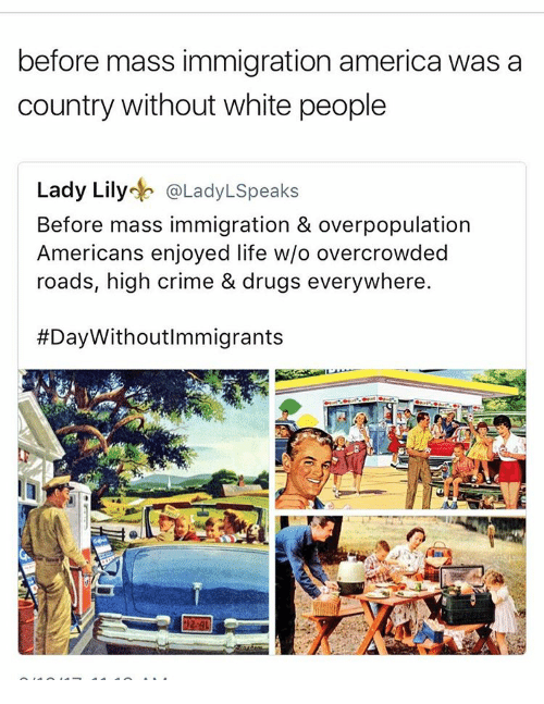 America, Crime, and Drugs: before mass immigration america was a  country without white people  Lady Lily  eb @LadyLspeaks  Before mass immigration & overpopulation  Americans enjoyed life w/o overcrowded  roads, high crime & drugs everywhere.  #Day WithoutImmigrants