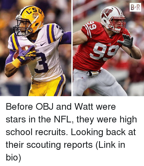 Nfl, School, and Sports: Before OBJ and Watt were stars in the NFL, they were high school recruits. Looking back at their scouting reports (Link in bio)