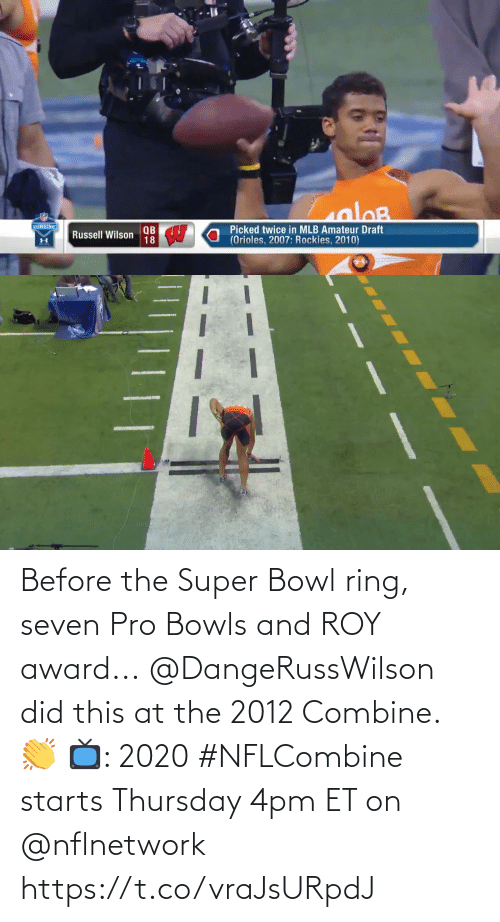 Starts: Before the Super Bowl ring, seven Pro Bowls and ROY award...  @DangeRussWilson did this at the 2012 Combine. 👏  📺: 2020 #NFLCombine starts Thursday 4pm ET on @nflnetwork https://t.co/vraJsURpdJ