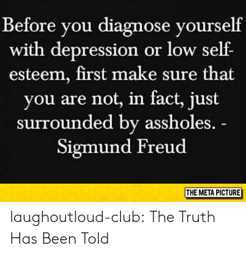 Sigmund Freud: Before you diagnose yourself  with depression or low self  esteem, first make sure that  you are not, in fact, just  surrounded by assholes.  Sigmund Freud  THE META PICTURE laughoutloud-club:  The Truth Has Been Told