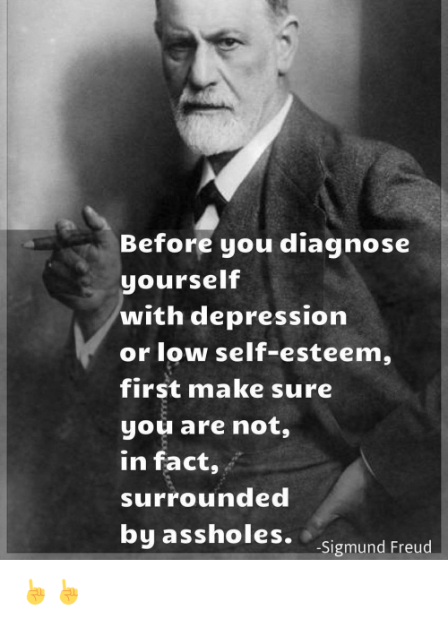 Sigmund Freud: Before you diagnose  yourself  with depression  or low self-esteem,  first make sure  you are not,  In fact,  surrounded  by assholes.  -Sigmund Freud ☝☝