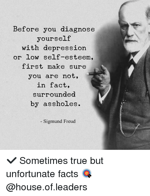 Sigmund Freud: Before you diagnose  yourself  with depression  or low self-esteem,  first make sure  you are not,  in fact,  surrounded  by assholes.  Sigmund Freud ✔️ Sometimes true but unfortunate facts 🎯 @house.of.leaders
