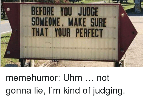 Tumblr, Blog, and Http: BEFORE YOU JUDGE  SOMEONE, MAKE SURE  THAT YOUR PERFECT memehumor:  Uhm … not gonna lie, I'm kind of judging.