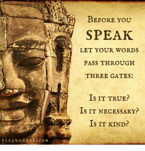 Memes, True, and 🤖: BEFORE YOU  SPEAK  LET YOUR WORDS  PASS THROUGH  THREE GATES:  IS IT TRUE?  Is IT NECESSARY?  IS IT KIND?  ra.com