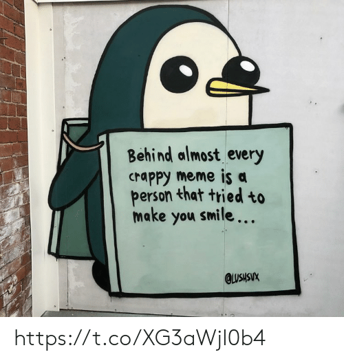 Make You Smile: Behind almost every  crappy meme is a  person that tried to  make you smile...  QLUSHSUX https://t.co/XG3aWjI0b4