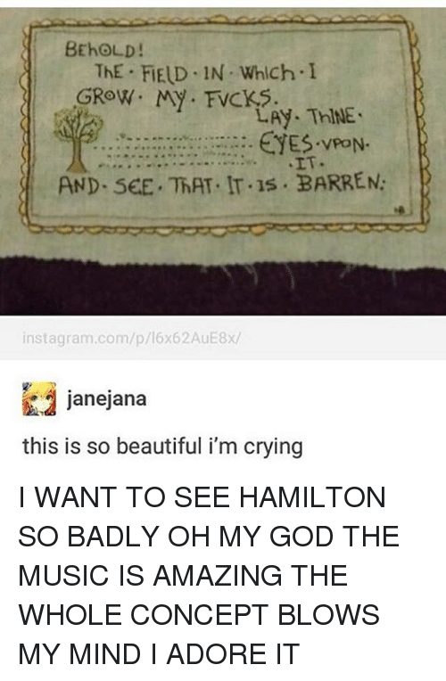 barren: BEhOLD!  ThE FIELD IN Which I  GROW. My FVCKS.  LAy. ThINE.  EYES. PON.  AND. SEE. ThAT. IT.1s BARREN:  instagram.com/p/16x62AuE8x/  janejana  this is so beautiful i'm crying I WANT TO SEE HAMILTON SO BADLY OH MY GOD THE MUSIC IS AMAZING THE WHOLE CONCEPT BLOWS MY MIND I ADORE IT