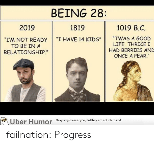 "Singles: BEING 28:  1019 B.C  2019  1819  ""TWAS A GOOD  LIFE. THRICEI  HAD BERRIES AND  ONCE A PEAR.""  ""I HAVE 14 KIDS""  ""I'M NOT READY  TO BE IN A  RELATIONSHIP.""  Uber Humor  Sexy singles near you, but they are not interested. failnation:  Progress"