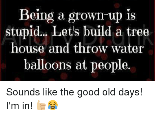 water balloons: Being a grown up is  stupid... Lets build a tree  house and throw water  balloons at people. Sounds like the good old days! I'm in! 👍🏼😂