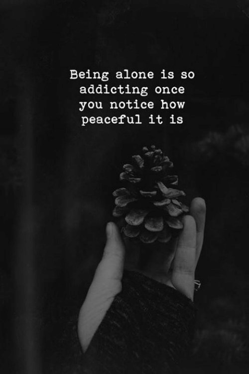 addicting: Being alone is so  addicting once  you notice how  peaceful it is