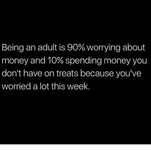 Being an Adult, Dank, and Money: Being an adult is 90% worrying about  money and 10% spending money you  don't have on treats because you've  worried a lot this week.