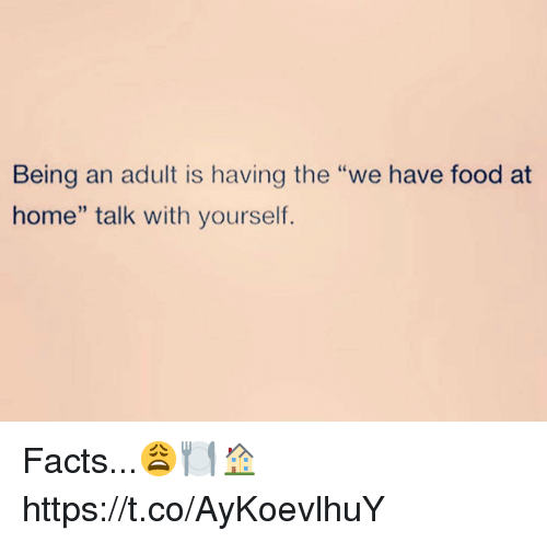 "Being an Adult, Facts, and Food: Being an adult is having the ""we have food at  home"" talk with yourself. Facts...😩🍽🏠 https://t.co/AyKoevlhuY"