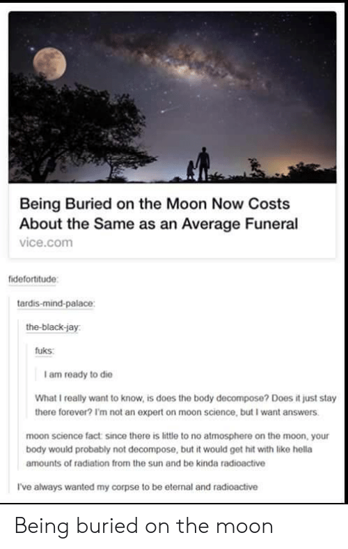 Fuks: Being Buried on the Moon Now Costs  About the Same as an Average Funeral  vice.comm  fidefortitude  tardis-mind-palace  the-black-jay  fuks  I am ready to die  What I really want to know, is does the body decompose? Does it just stay  there forever? I'm not an expert on moon science, but I want answers  moon science fact since there is little to no atmosphere on the moon, your  body would probably not decompose, but it would get hit with like hella  amounts of radiation from the sun and be kinda radioactive  I've always wanted my corpse to be eternal and radioactive Being buried on the moon