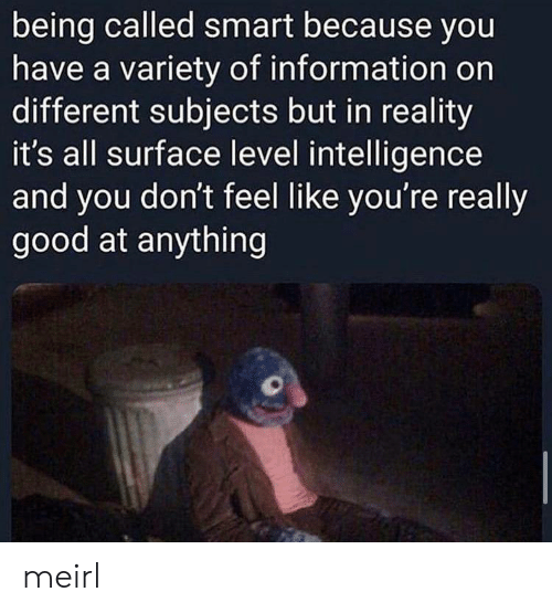 intelligence: being called smart because you  have a variety of information on  different subjects but in reality  it's all surface level intelligence  and you don't feel like you're really  good at anything meirl