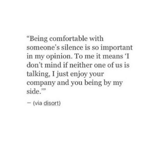 """Just Enjoy: """"Being comfortable with  someone's silence is so important  in my opinion. To me it means 'I  don't mind if neither one of us is  talking, I just enjoy your  company and you being by my  side.""""  35  (via disort)"""