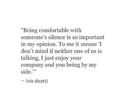 """My Opinion: """"Being comfortable with  someone's silence is so important  in my opinion. To me it means 'I  don't mind if neither one of us is  talking, I just enjoy your  company and you being by my  side.""""  35  (via disort)"""