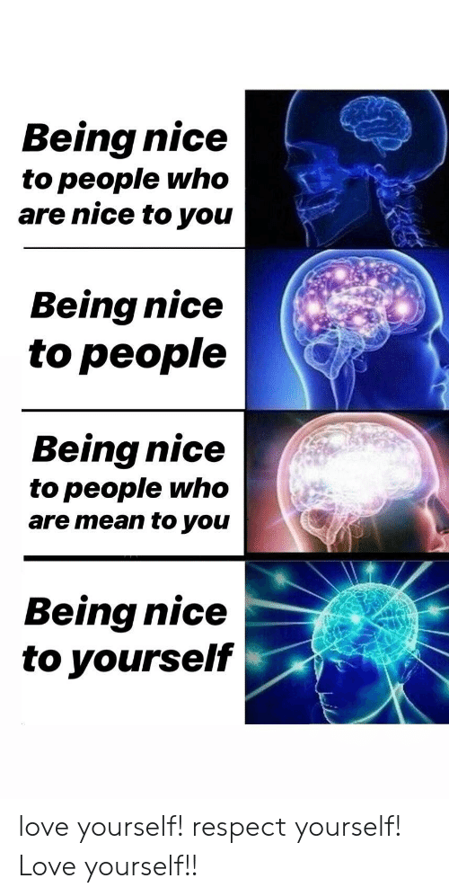 Being Nice: Being nice  to people who  are nice to you  Being nice  to people  Being nice  to people who  are mean to you  Being nice  to yourself love yourself! respect yourself! Love yourself!!