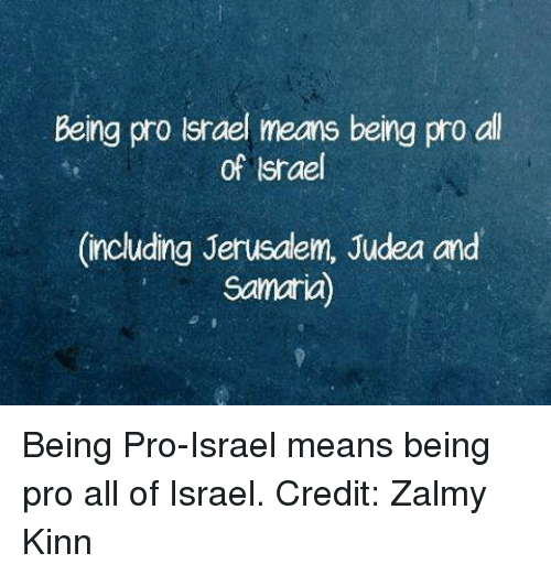 Memes, Israel, and Pro: Being pro lsrael means being pro all  of Israel  (including Jerusdlem, Judea and  Samaria) Being Pro-Israel means being pro all of Israel.  Credit: Zalmy Kinn