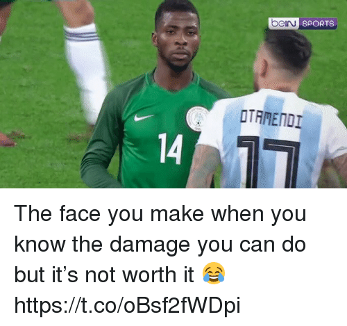 The Face You Make When: beiru  SPORTS  OTAMENDI  14 The face you make when you know the damage you can do but it's not worth it 😂 https://t.co/oBsf2fWDpi