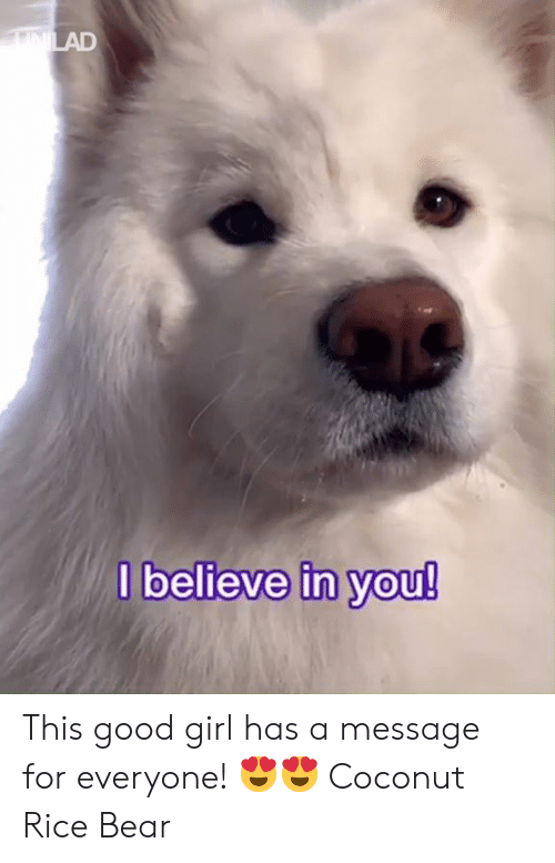 coconut: believe in Vou! This good girl has a message for everyone! 😍😍  Coconut Rice Bear