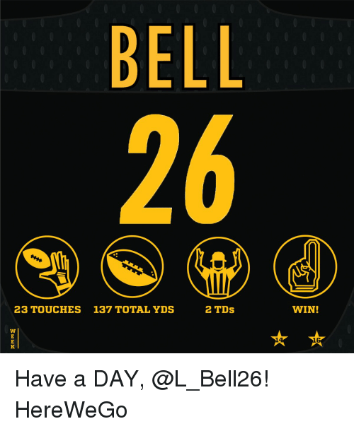 Memes, 🤖, and Belle: BELL  2 TDs  23 TOUCHES 137 TOTAL YDS  WIN! Have a DAY, @L_Bell26! HereWeGo