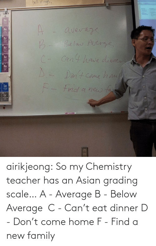 Asian: bell rings.  Не  A.  average  Belaw Aucrge,  Ne  B.  (- Cant have dinne  D- u  Kr  Xe  rits  Rm  Dant Come ha  Lu  - Frnd a new far  MAUNT  Lr airikjeong:  So my Chemistry teacher has an Asian grading scale… A - Average B - Below Average  C - Can't eat dinner D - Don't come home F - Find a new family