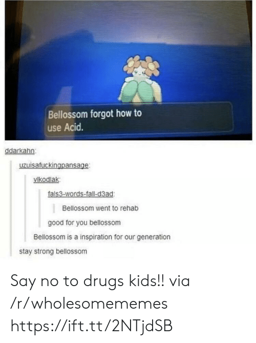 Our Generation: Bellossom forgot how to  use Acid.  ddarkahn  uzuisafuckingpansage  vikodlak  fals3-words-fall-d3ad  Bellossom went to rehab  good for you bellossom  Bellossom is a inspiration for our generation  stay strong bellossom Say no to drugs kids!! via /r/wholesomememes https://ift.tt/2NTjdSB