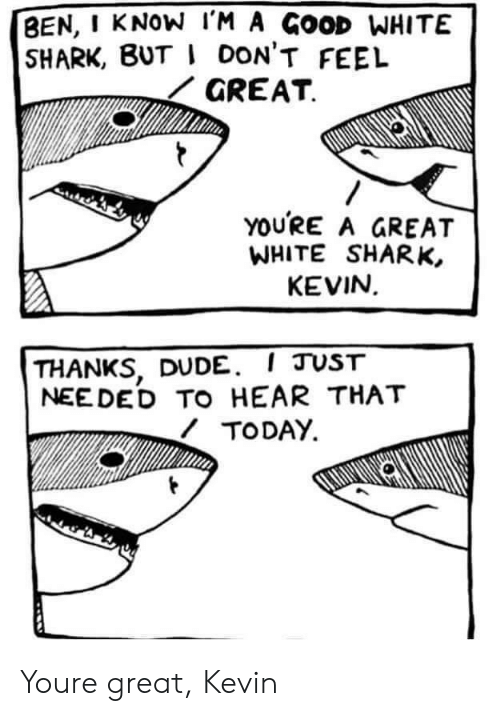 ded: BEN, I KNOW l'M A GOOD WHITE  SHARK, BUT I DON'T FEEL  GREAT  YOURE A GREAT  WHITE SHARK,  KEVIN  THANKS, DUDE. I JUST  NEE DED TO HEAR THAT  TODAY Youre great, Kevin